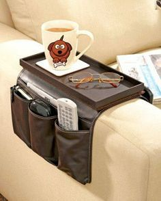 Great Ideas Luxury Faux Leather Tv Remote Control Handset Holder Organiser Caddy For Arm Rests With Cup Tray Fits Over Chairs Sofas Armchairs