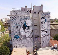 "Millo, ""How did we get this far apart"" for Color BA Festival in La Boca, Buenos Aires, Argentina, 2016 Urban Street Art, Best Street Art, Amazing Street Art, Urban Art, Street Art Banksy, Murals Street Art, Graffiti Art, Miguel Angel Garcia, Art Manifesto"