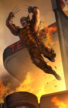 X-Men: Wolverine (James Howlett) Healing Factor, Superhuman Senses, Adamantium-Laced Skeletal Structure & Retractable Adamantium-Laced Bone Claws. Marvel Wolverine, Logan Wolverine, Marvel Comics Art, Bd Comics, Marvel Heroes, Anime Comics, Wolverine Tattoo, Comic Book Characters, Comic Book Heroes