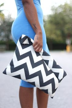 OVERSIZED CHEVRON CLUTCH.  via StyleLust Pages: Chevron With Blue