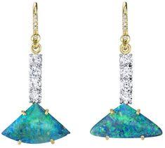 Irene Neuwirth One-Of-A-Kind Triangle Opal and Diamond Drop Earrings