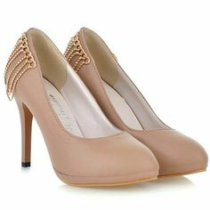 Party Spotlight Almond Toe Apricot Slim Heel Shoes With Chain