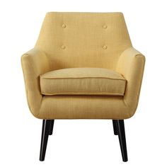 Hand-crafted Mustard Yellow Linen Chair with Button Tufting | Overstock.com Shopping - The Best Deals on Living Room Chairs