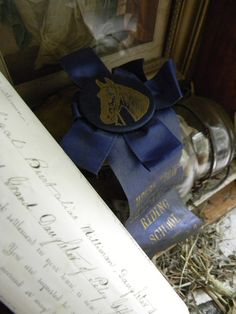 Antique horse show ribbon displayed in an antique blue drawer used as a whimsical shadow box!  Find these items at Country Mischief Marketplace in Templeton, Mass.