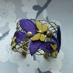 Bracelet manchette papillon violet vert