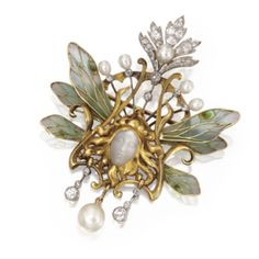 Art Nouveau - Louis Aucoc French - gold pendant/brooch with plique-a-jour enamel, carved moonstone, pearl & diamond Bijoux Art Nouveau, Art Nouveau Jewelry, Jewelry Art, Jewelry Accessories, Fine Jewelry, Jewelry Design, Geek Jewelry, Jewelry Necklaces, Enamel Jewelry