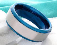 Tungsten Wedding Ring Blue Double Groove Black 8mm par DeluxeBands