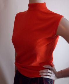 Vintage 1970s Orange Cashmere Sweater from Dalton Sleeveless Small