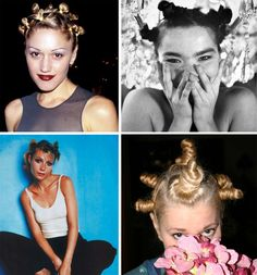 "Tiny Buns - There are probably still some new-age yoga instructors that still sport this style, but these so-called ""hair turds"" probably hit their peak of popularity at Lilith Fair '97."