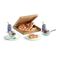 american girl doll crafts This pizza party set features a pepperoni pizza in a box with two removable slices, two sparkling water drinks dolls can hold, two bowls of ice cream, Comida American Girl, American Girl Food, American Girl Doll Room, American Girl Crafts, American Dolls, American Girl Accessories, Baby Doll Accessories, Crafts For Girls, Toys For Girls