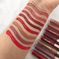 #makeupgeekcosmetics #PlushMatte  & #PlushCreme liquid #lipsticks #swatch