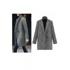 New Arrival Women's Fashion Winter Notched Lapel Tweed Coat (2.235 RUB) ❤ liked on Polyvore featuring outerwear, coats, tweed coat and tweed wool coat