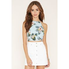 Forever 21 Women's  Floral Print Halter Top ($15) ❤ liked on Polyvore featuring tops, forever 21, white shell top, floral crop top, floral top and forever 21 tops
