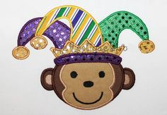 Mardi Gras Monkey Embroidery Design Machine by theappliquediva