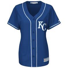 Kansas City Royals Road Alternate Royal Blue Ladies Jersey by Majestic