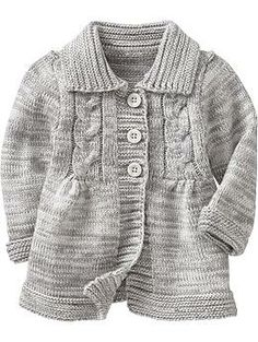 Button-Front Sweater Coats for Baby.  The back has a bow its so cute