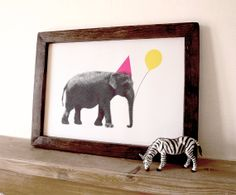 Elephant Poster, Nursery Art, Girls Bedroom, Kids Room, Baby Room Art, Baby Room Decor, Fun Print, Party Animal Elephant A3 Digital Print