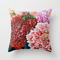 Peony Throw Pillow by Na Liu Cherry - $20.00