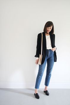 4 bequeme Herbst-Looks - 4 Comfy Fall Looks Style Bee 4 Bequeme Herbst-Looks Ripped Jeggings, Ripped Skinny Jeans, Office Outfits, Office Wear, Office Attire, Office Ootd, Office Uniform, Casual Office, Business Casual