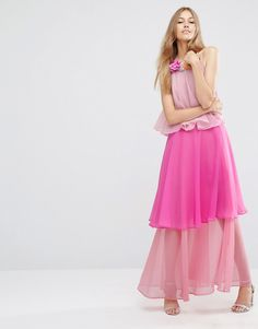 Image 1 ofASOS Tiered Colour Block Maxi Dress With Corsage