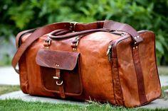 Herren Damen Handgefertigte Vintage Leder Duffle Reise Wochenende Gym Reisetasch