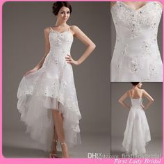 2015 Sexy Beach High Low Wedding Gowns Spaghetti Straps A-Line Appliques Lace Country Style Bridal Dresses Chinese Bride Dress Designer from Firstladybridal,$90.3 | DHgate.com