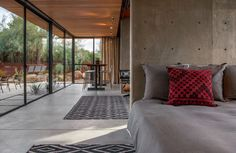 bedroom in a converted horse barn guest house in Phoenix