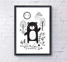 Bear Print,Woodland Animal Decor-Digital Instant Download-A4 or A3 Printable Poster-Black and White Children's Nursery Wall Art -Kids Print