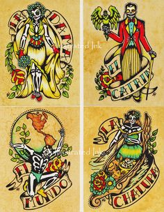 These postcards are high quality, professional prints of my original paintings. Inspired by the Mexican Loteria cards, but with my own Day of the Dead makeover. Youll receive 8 postcard designs : La Sirena La Calavera La Garza El Musico La Dama El Catrin El Mundo La Chalupa Printed in