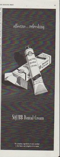 "Description: 1948 SQUIBB vintage print advertisement ""effective ... refreshing"" -- Squibb Dental Cream ... The priceless ingredient of every product is the honor and integrity of its maker -- Size: The dimensions of the half-page advertisement are approximately 5.25 inches x 13.5 inches (13.25 cm x 34.25 cm). Condition: This original vintage half-page advertisement is in Excellent Condition unless otherwise noted."