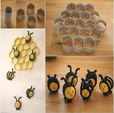 Cute beehive F Wonderful DIY Cute Bee Hive Decoration From Paper Rolls Kids Crafts, Bee Crafts, Toilet Paper Roll Crafts, Paper Crafts, Toilet Paper Rolls, Diy Paper, Tissue Paper, Diy Wanddekorationen, Bee Party