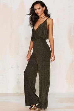 Image result for wide leg jumpsuit metallic