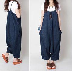 Casual Loose Fitting Linen Suspender Slacks by LovingbeautyFur