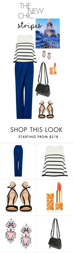 """The classic chic"" by cheetakat12 on Polyvore featuring Vika Gazinskaya, Cardigan, Gianvito Rossi, Tory Burch, Erickson Beamon, Givenchy and stripes"