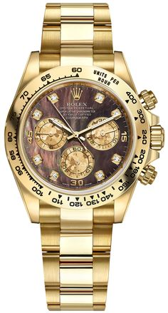 a8cb388ba98 Rolex Cosmograph Daytona 116508 Solid 18k Yellow Gold Black Mother of Pearl  Dial Watch - Never