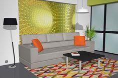 Salón comedor moderno con los muebles en color negro