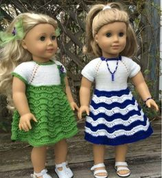 Two American Girl Doll Dresses | These doll clothes knitting patterns make such cute dresses.