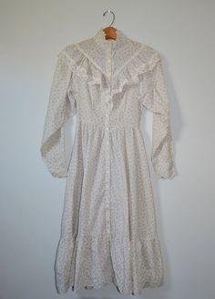 Vintage 70s Gunne Sax Dress Prairie Dress Floral Print Dress Cream with Blue Floral Print Size 5 Teen Juniors on Etsy, $49.00