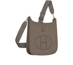 """Evelyne III Hermes shoulder bag gray taurillon clemence leather (size GM) Silver and palladium plated hardware. Adjustable strap, outside pocket, leather tab closure, perforated leather plaque. Measures 13"""" x 12"""" x 4"""""""