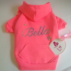 Personalised Dog Hoodie. American Apparel Dog Clothes. Dog Sweater in Neon Pink. Customized with Dogs Name. by SoPinkUK on Etsy