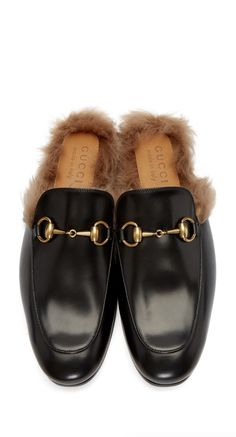Gucci Black Fur Princetown Slippers from SSENSE (men, style, fashion, clothing, shopping, recommendations, stylish, menswear, male, streetstyle, inspo, outfit, fall, winter, spring, summer, personal)