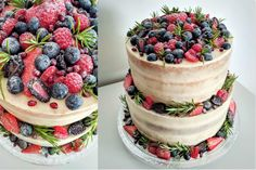 Two tier naked cake with fruits (strawberries, blackberries, blueberries, raspberries) Blackberries, Strawberries, Acai Bowl, Blueberry, Naked, Cupcakes, Fruit, Breakfast, Food