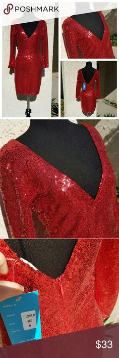 NWT New Year's Eve Red Sequin Long Sleeve Dress Perfect for a New Year's eve party! Stunning, bold red. V-neck with v-shape low back. Zipper down the back. Lining under sequin fabric ?? 2 small spots where there are a few less sequins (last picture). Both on the back- red fabric underneath, so not very noticeable ?? Tag says Medium - fits like a small (as seen on small size mannequin). Dresses Mini