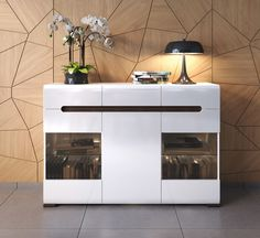 New HIGH GLOSS Sideboard with Lights | Display Cabinet 3 Doors 3 Drawers AZTECA