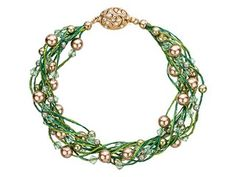 WireLace Green Swirls of Pearls Bracelet Supplies