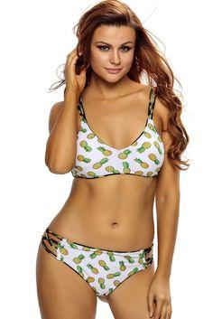 c1930f69cc Crisscross Straps Pineapple Print Reversible 2pcs sporty bikini swimwear  MB410118 – ModeShe.com Pineapple Pattern