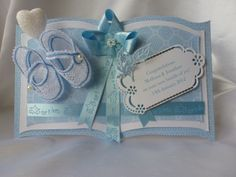 A bookatrix with embroidered shoes Baby Boy Cards, New Baby Cards, Fancy Fold Cards, Folded Cards, Pinterest Cards, Card Book, Embossed Cards, Easel Cards, Die Cut Cards