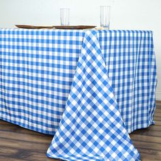 Checkered Polyester Rectangular Linen Home Picnic Tablecloth - White/Blue - ChairCoverFactory Gingham Tablecloth, Tablecloth Sizes, Tablecloths, Gingham Decor, Gingham Curtains, Blue Gingham, Blue Kitchen Curtains, Checker Design, Blue Nails
