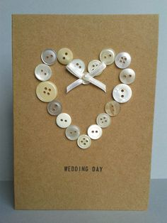 Unique Button Heart Wedding Card Personalised by GurdGifts on Etsy, £3.80