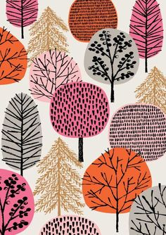 Pink Copse, limited edition giclee print,Pink Copse is a print that adds to my growing range of tree-inspired images, with a colour palette reflecting my current preferences and seasonal insp. Doodle Drawing, Posca Art, Buch Design, Arte Floral, Art Plastique, Graphic, Cute Wallpapers, Printmaking, Giclee Print